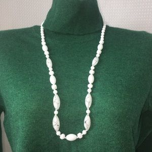 Jewelry - White Hand Painted Glass Bead Necklace